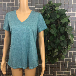 DANSKIN WMS SZ LG 12/14 TOP GREEN DRI MORE GUC